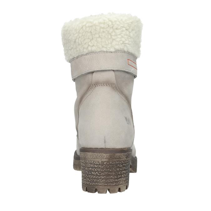 Kožená zimná obuv s kožúškom weinbrenner, béžová, 696-3336 - 15