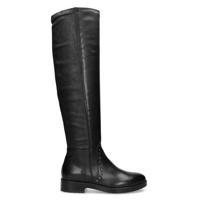 Čierne kožené čižmy s kovovými cvokmi bata, čierna, 596-6725 - 19
