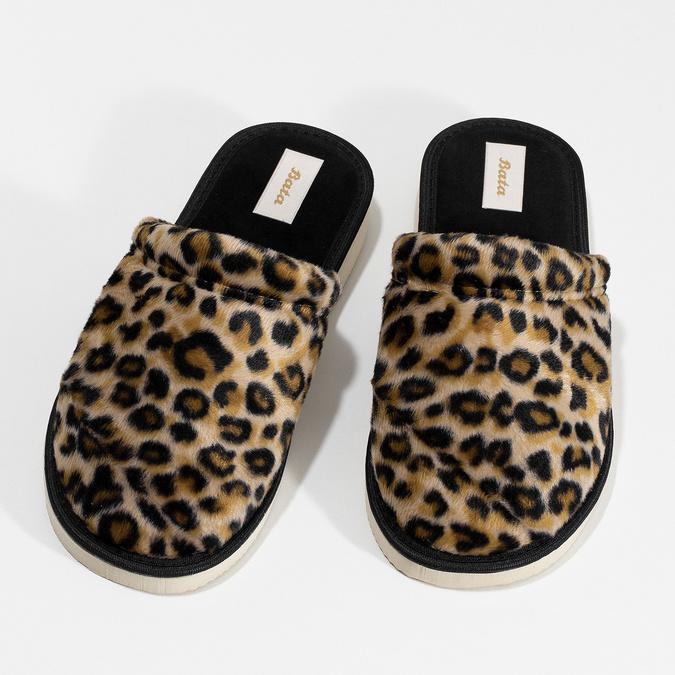 Dámske domáce nazuváky s leopardím vzorom bata, hnedá, 579-8639 - 16