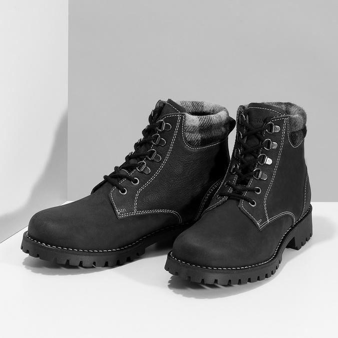 Čierna dámska kožená členková obuv weinbrenner, čierna, 596-6729 - 16