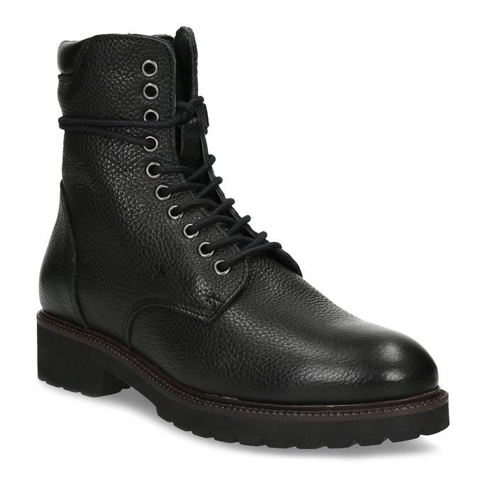 Dámska čierna kožená členková obuv bata, čierna, 596-6722 - 13