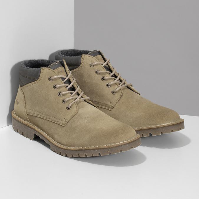 Kožená béžová pánska členková obuv weinbrenner, béžová, 896-8630 - 26