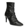 Čierne kožené čižmy s riasením bata, čierna, 794-6662 - 13