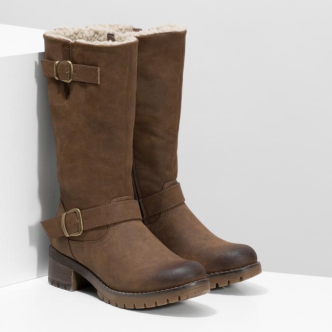 Dámske hnedé čižmy s prackami bata, hnedá, 691-4643 - 26