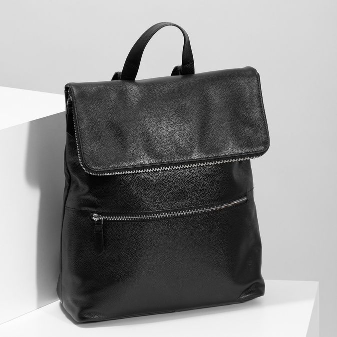 Kožený čierny batôžtek bata, čierna, 964-6607 - 17