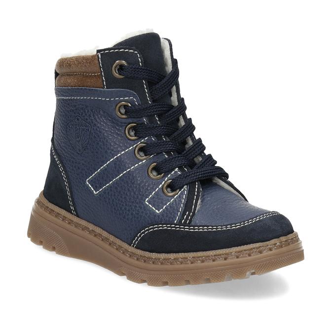 82ff3738ba Mini B Detské modré kožené zimné topánky - Zimná obuv