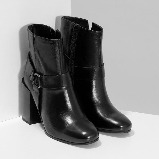 Kožená členková obuv na vysokom podpätku bata, čierna, 796-6661 - 26