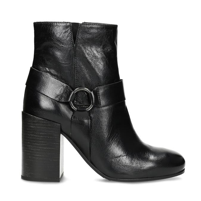 Kožená členková obuv na vysokom podpätku bata, čierna, 796-6661 - 19