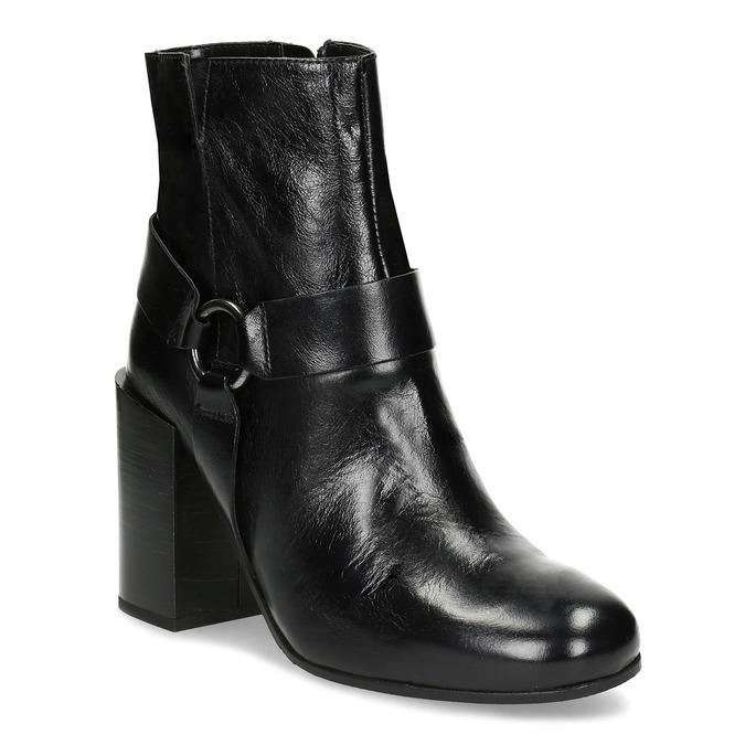 Kožená členková obuv na vysokom podpätku bata, čierna, 796-6661 - 13