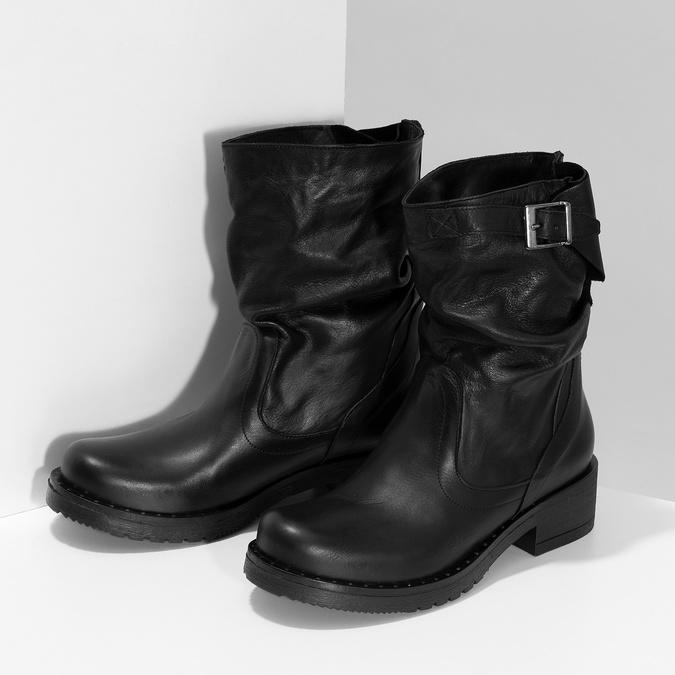 Kožené dámske čižmy s prackou bata, čierna, 594-6719 - 16