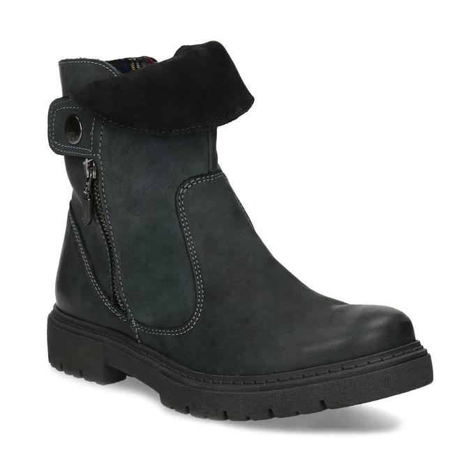 Dámska kožená zimná obuv s prešitím weinbrenner, čierna, 596-6751 - 13
