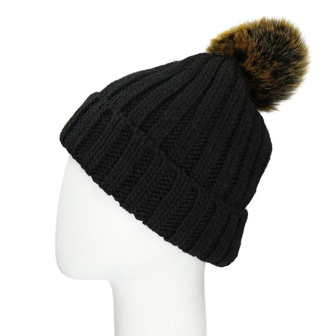 Čierna dámska čapica s bambuľkou weinbrenner, čierna, 909-6726 - 16