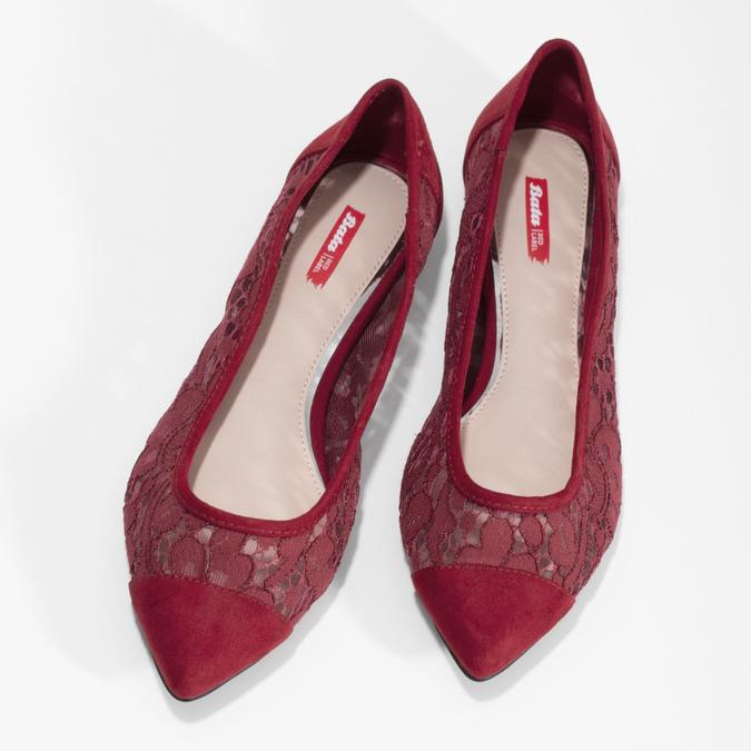 Vínové baleríny s čipkou do špičky bata-red-label, červená, 529-5643 - 16