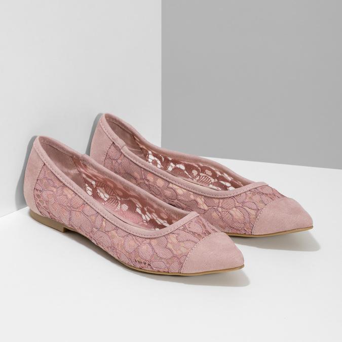 Ružové čipkované baleríny do špičky bata-red-label, ružová, 529-8643 - 26