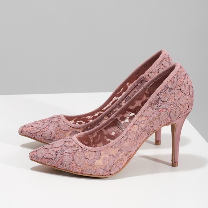 Ružové čipkované lodičky do špičky bata-red-label, ružová, 729-8631 - 16