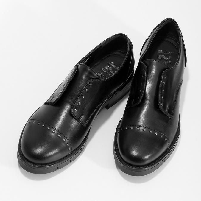 Kožené dámske mokasíny s cvočkami flexible, čierna, 514-6147 - 16