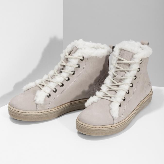 Kožená členková zimná obuv s kožúškom weinbrenner, béžová, 596-8730 - 16