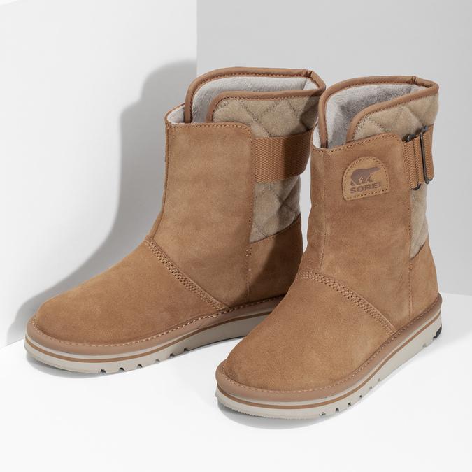 Hnedé dámske kožené topánky sorel, hnedá, 693-3080 - 16