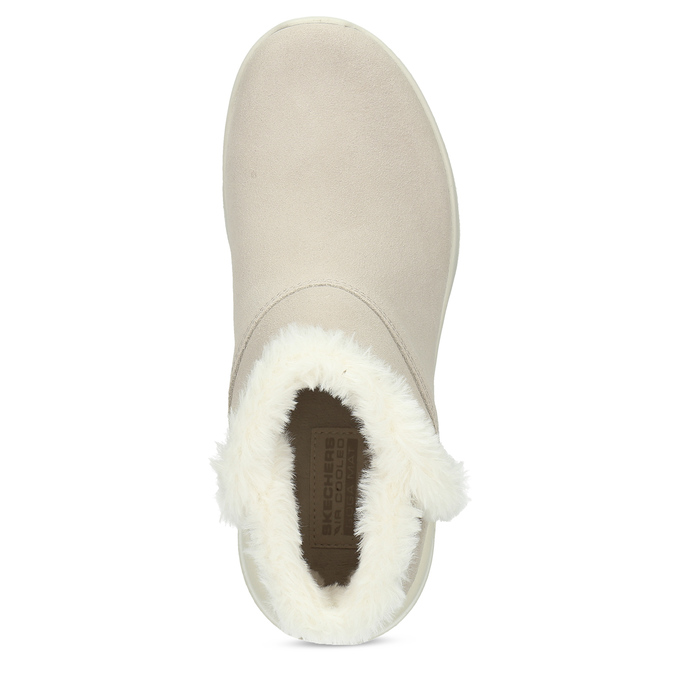 Kožená zimná obuv s kožúškom béžová skechers, béžová, 503-8124 - 17