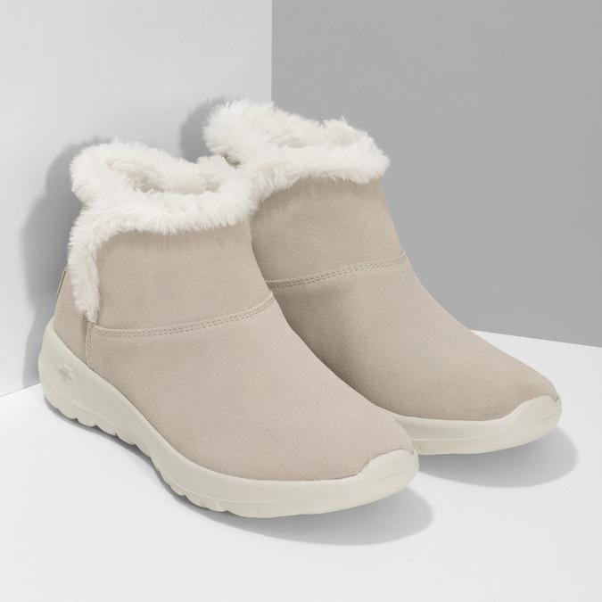 Kožená zimná obuv s kožúškom béžová skechers, béžová, 503-8124 - 26