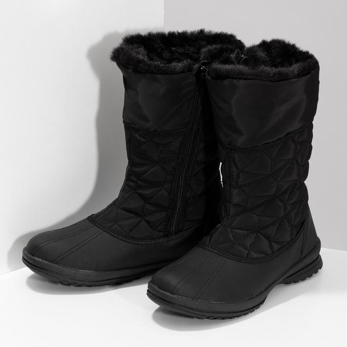 Dámska čierna zimná obuv s prešívaním bata, čierna, 599-6624 - 16