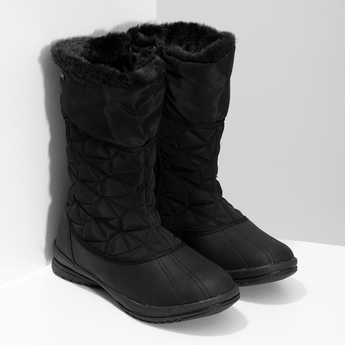 Dámska čierna zimná obuv s prešívaním bata, čierna, 599-6624 - 26