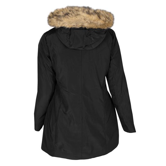 Dlhá dámska bunda s kapucňou a kožúškom bata, čierna, 979-6355 - 26