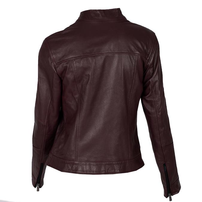 Vínová dámska kožená bunda s prešitím bata, červená, 974-5106 - 26