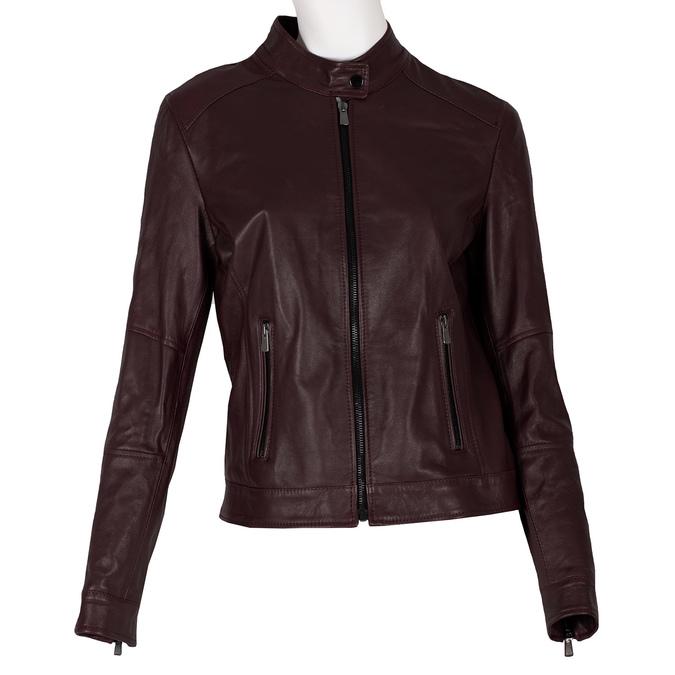Vínová dámska kožená bunda s prešitím bata, červená, 974-5106 - 13