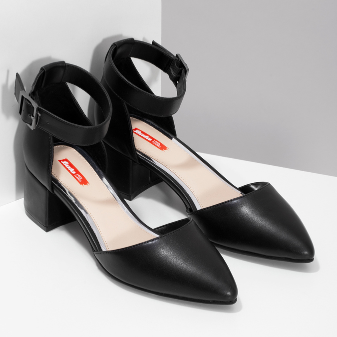 Čierne dámske lodičky na nízkom podpätku bata-red-label, čierna, 621-6654 - 26