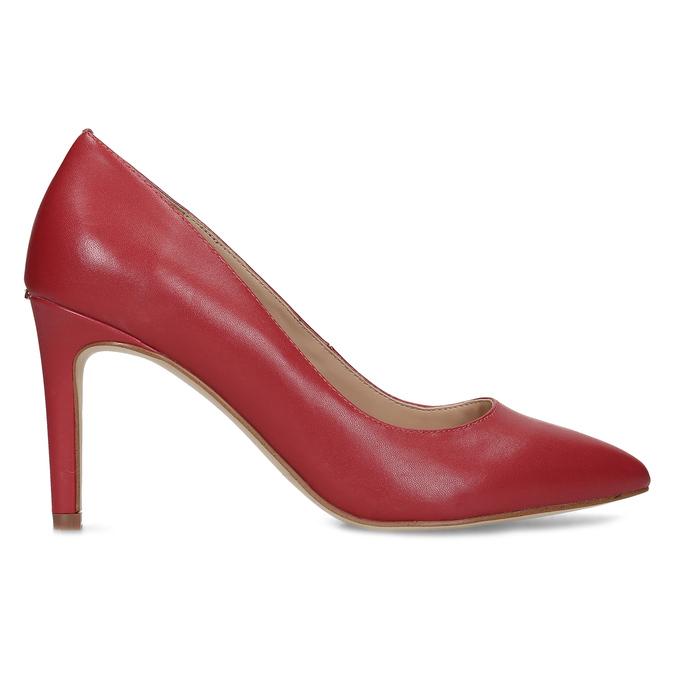 Červené kožené dámske lodičky na ihličkovom podpätku insolia, červená, 724-5661 - 19