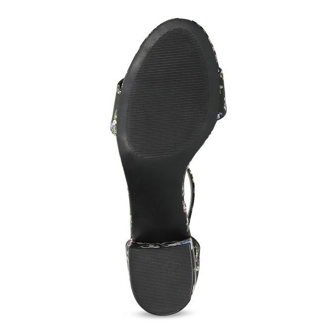 Čierne sandále na podpätku s kvetinovým vzorom bata-red-label, viacfarebné, 661-6615 - 18