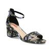 Čierne sandále na podpätku s kvetinovým vzorom bata-red-label, viacfarebné, 661-6615 - 13