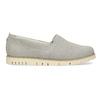 Kožená dámska Slip-on obuv s perforáciou flexible, šedá, 513-9609 - 19
