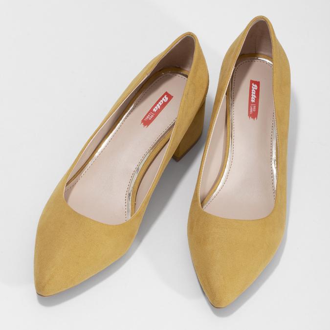 Žlté dámske lodičky na stabilnom podpätku bata-red-label, žltá, 629-8655 - 16