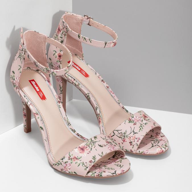 Ružové sandále na ihličkovom podpätku so vzorom bata-red-label, ružová, 761-5626 - 26