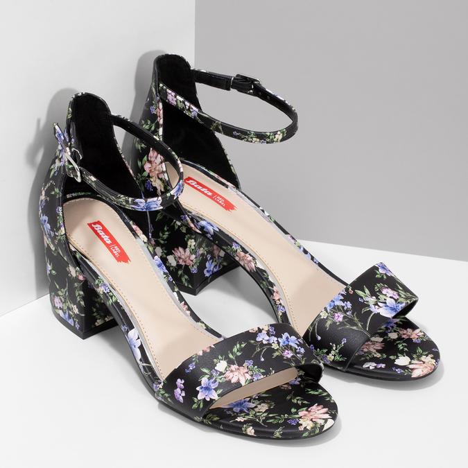 dfdf7d281d65 Bata Red Label Čierne sandále na podpätku s kvetinovým vzorom - Red ...
