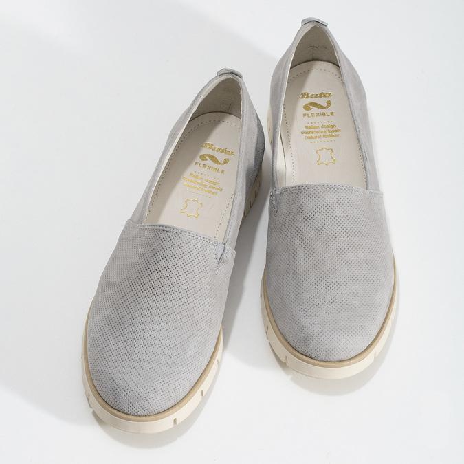 Kožená dámska Slip-on obuv s perforáciou flexible, šedá, 513-9609 - 16