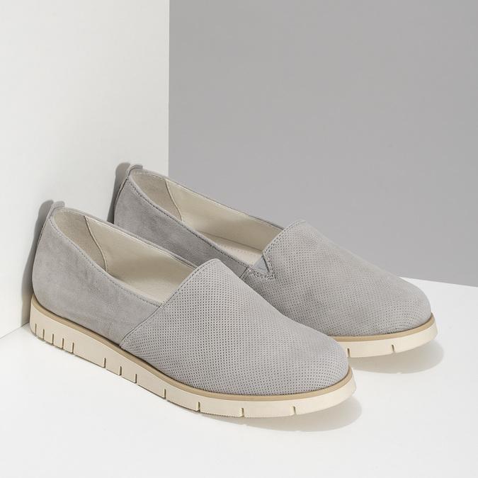 Kožená dámska Slip-on obuv s perforáciou flexible, šedá, 513-9609 - 26