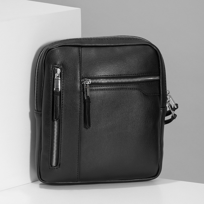 Čierna pánska Crossbody taška bata, čierna, 961-6966 - 17