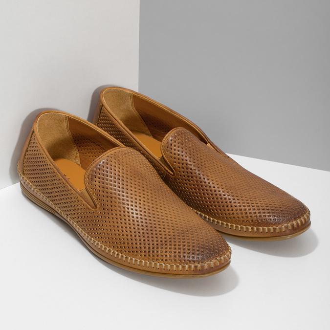 Kožené hnedé pánske Loafers bata, hnedá, 836-3627 - 26