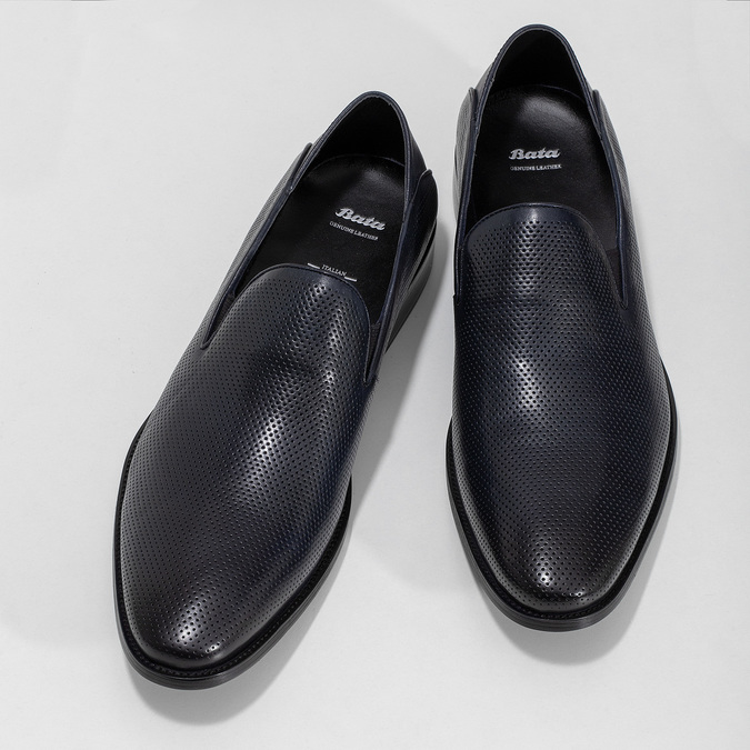 Pánske Loafers s perforáciou kožené bata, modrá, 816-9600 - 16