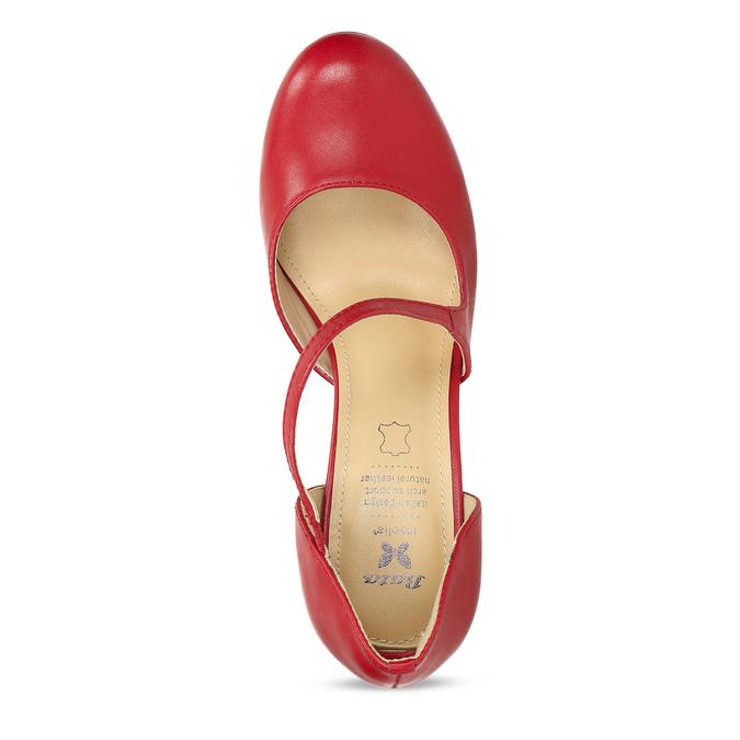Červené kožené lodičky s asymetrickým remienkom insolia, červená, 724-5662 - 17