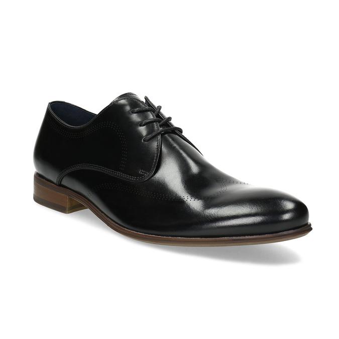 Čierne kožené Derby poltopánky s perforáciou bata, čierna, 824-6833 - 13