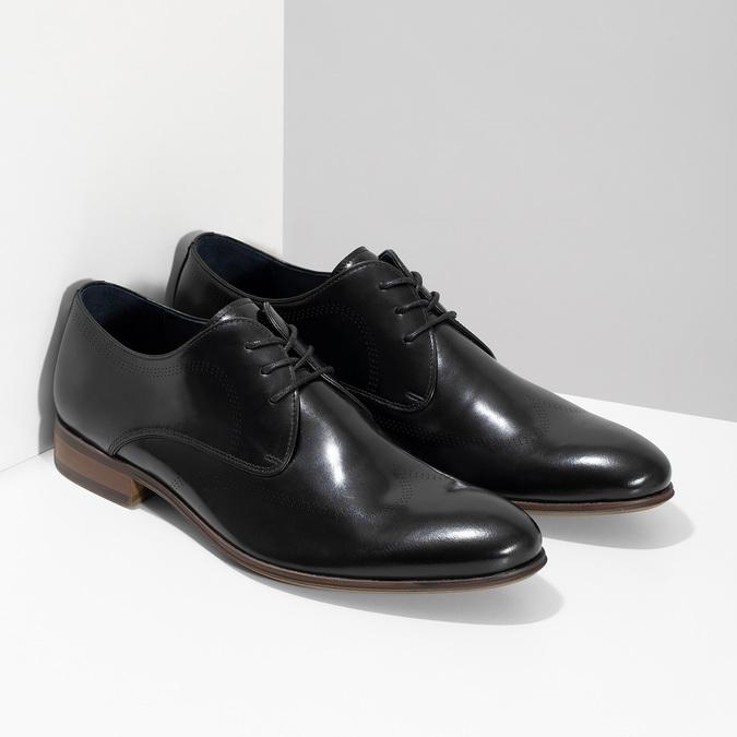 Čierne kožené Derby poltopánky s perforáciou bata, čierna, 824-6833 - 26