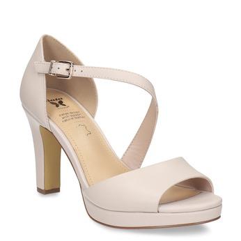 Telové kožené sandále s asymetrickým remienkom insolia, béžová, 764-8600 - 13