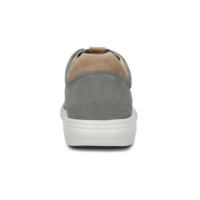 Pánske šedé kožené tenisky s perforáciou bata-light, šedá, 846-2722 - 15