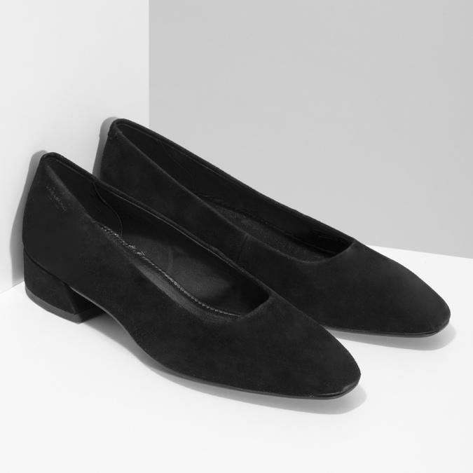 Dámske čierne lodičky z brúsenej kože vagabond, čierna, 623-6097 - 26