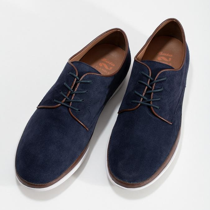 Tmavomodré kožené ležérne poltopánky flexible, modrá, 823-9630 - 16