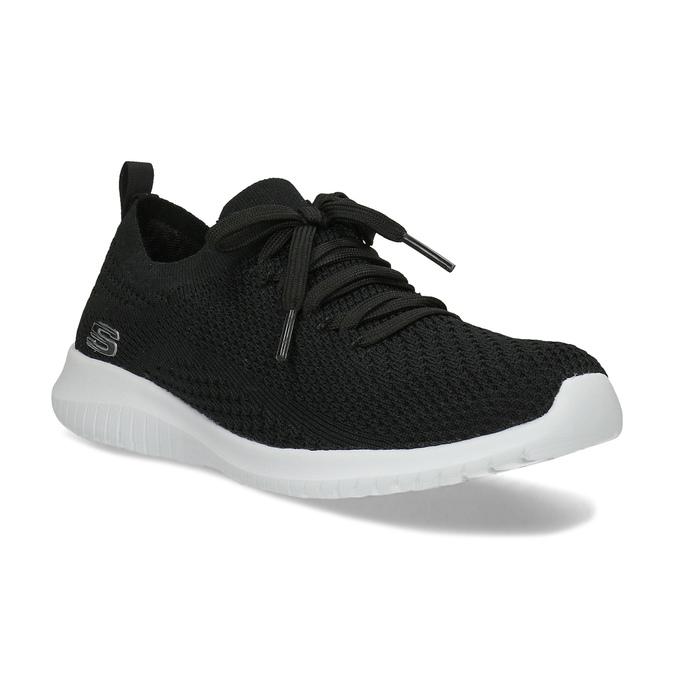 Čierne dámske tenisky v pletenom štýle skechers, čierna, 509-6105 - 13